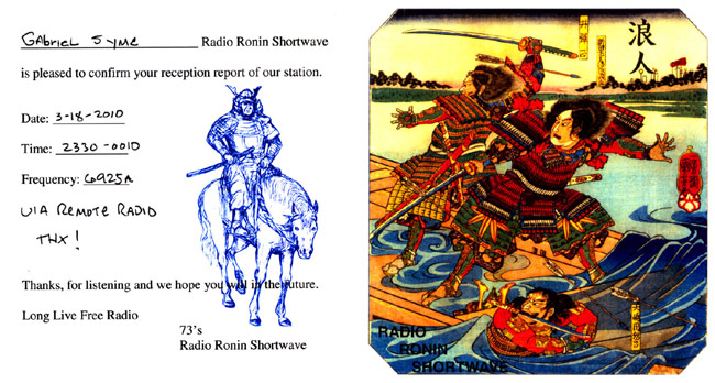 Radio Ronin QSL card