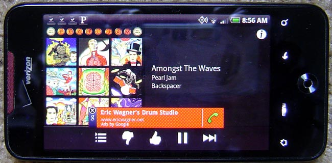 HTC incredible Android phone with Pandora App
