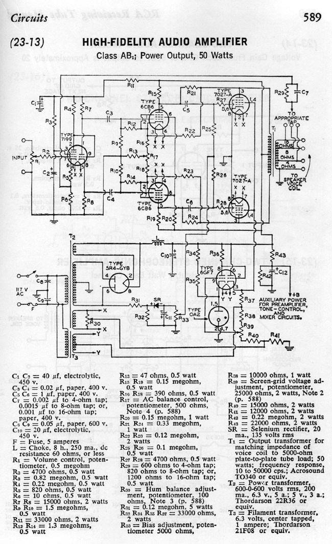 RCA receiving tube manual audio amp schematic diagram C 1964