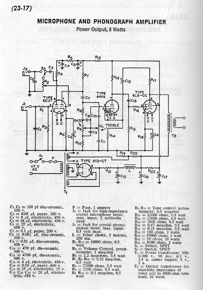Microphone Preamp schematic plan RCA receiving tube manual C 1964