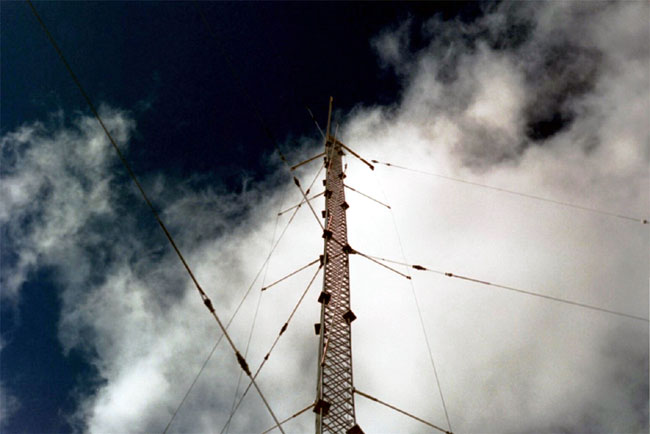 three wire folded unipole on a guyed tower
