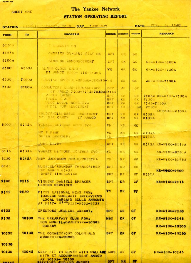 WICC operating report, February 8, 1940