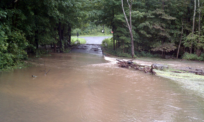 Creek overflows roadway, Ulster County, NY, Tropical Storm Irene, August 28, 2011