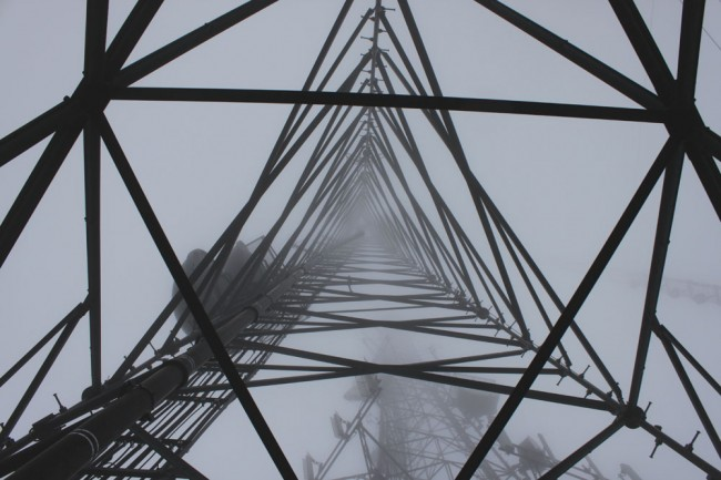 300 foot self supporting communications tower in fog