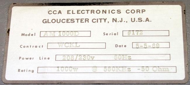 CCA AM 1000D name plate, WCKL Catskill, NY