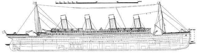 RMS Titanic side view