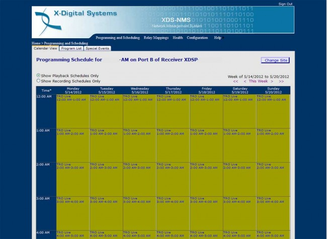 XDS satellite receiver weekly programming grid