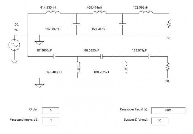 HF VHF diplexor schematic diagram