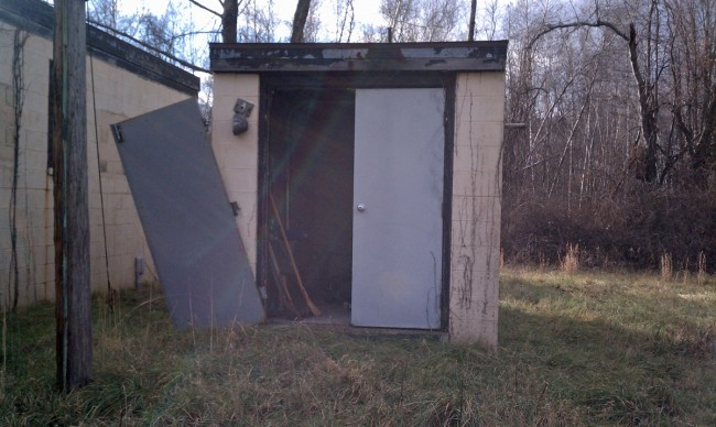 Generator shed doors ajar