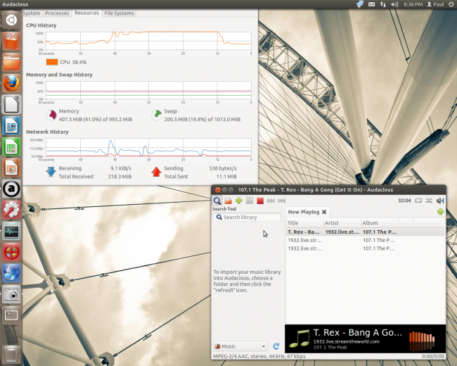 Screen shot, Ubuntu desktop, Audacious media player