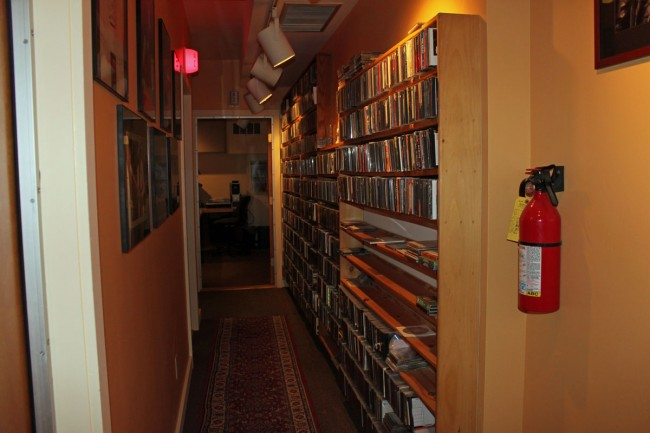 WDST music library, located in hallway outside of studio