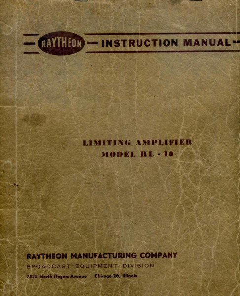 Raytheon RL10 limiting amplifier manual cover