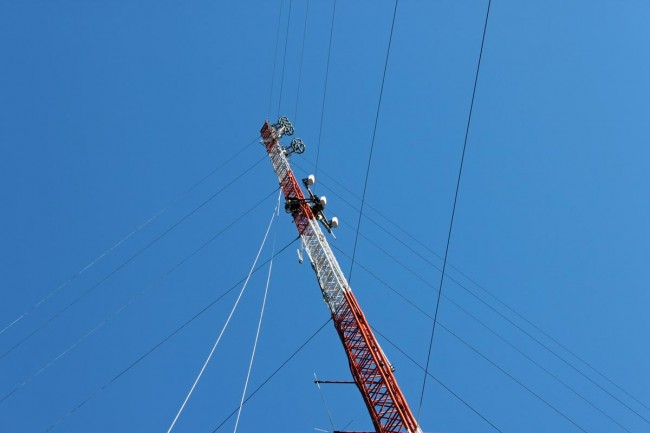 Cellular panel antenna array being removed from a tower