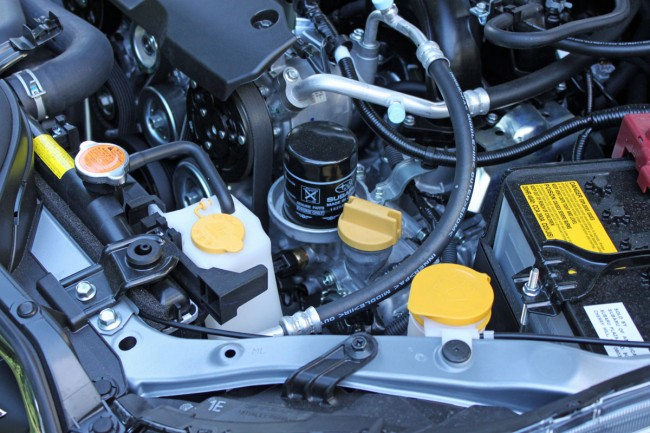 Oil filter location on a Subaru FB20 engine