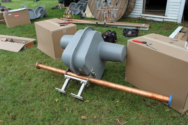 Assembled element with RADOME.  This is the top bay with the gas pressure release valve