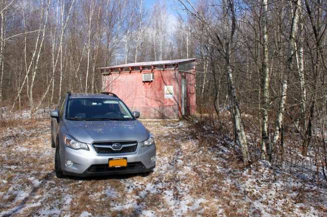Subaru Crosstrek XV at remote transmitter site, somewhere in rural New York