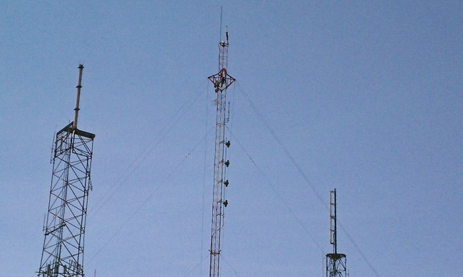 Side-mounted Shively 6810 antenna.  WSPK, Mount Beacon, NY