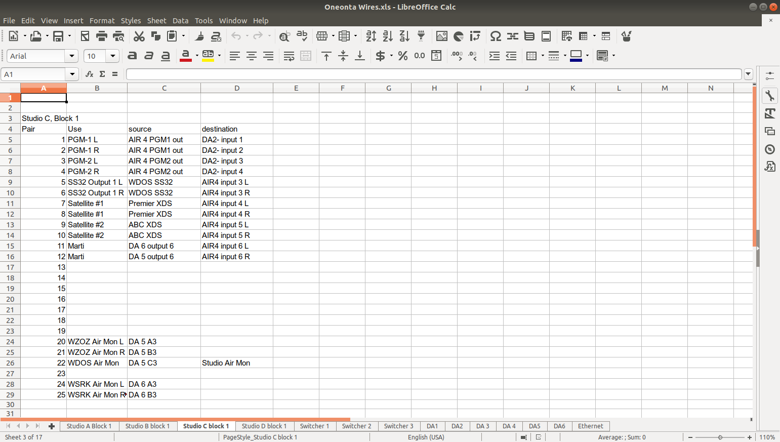 Screen shot of wire run spreadsheet
