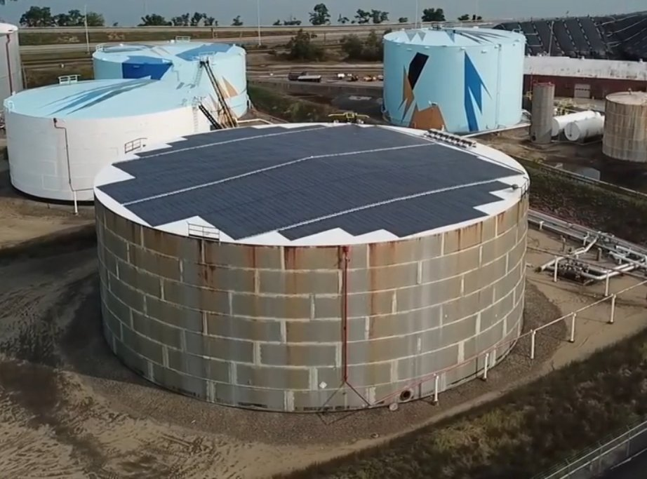 Thin film solar panels installed on a fuel storage tank