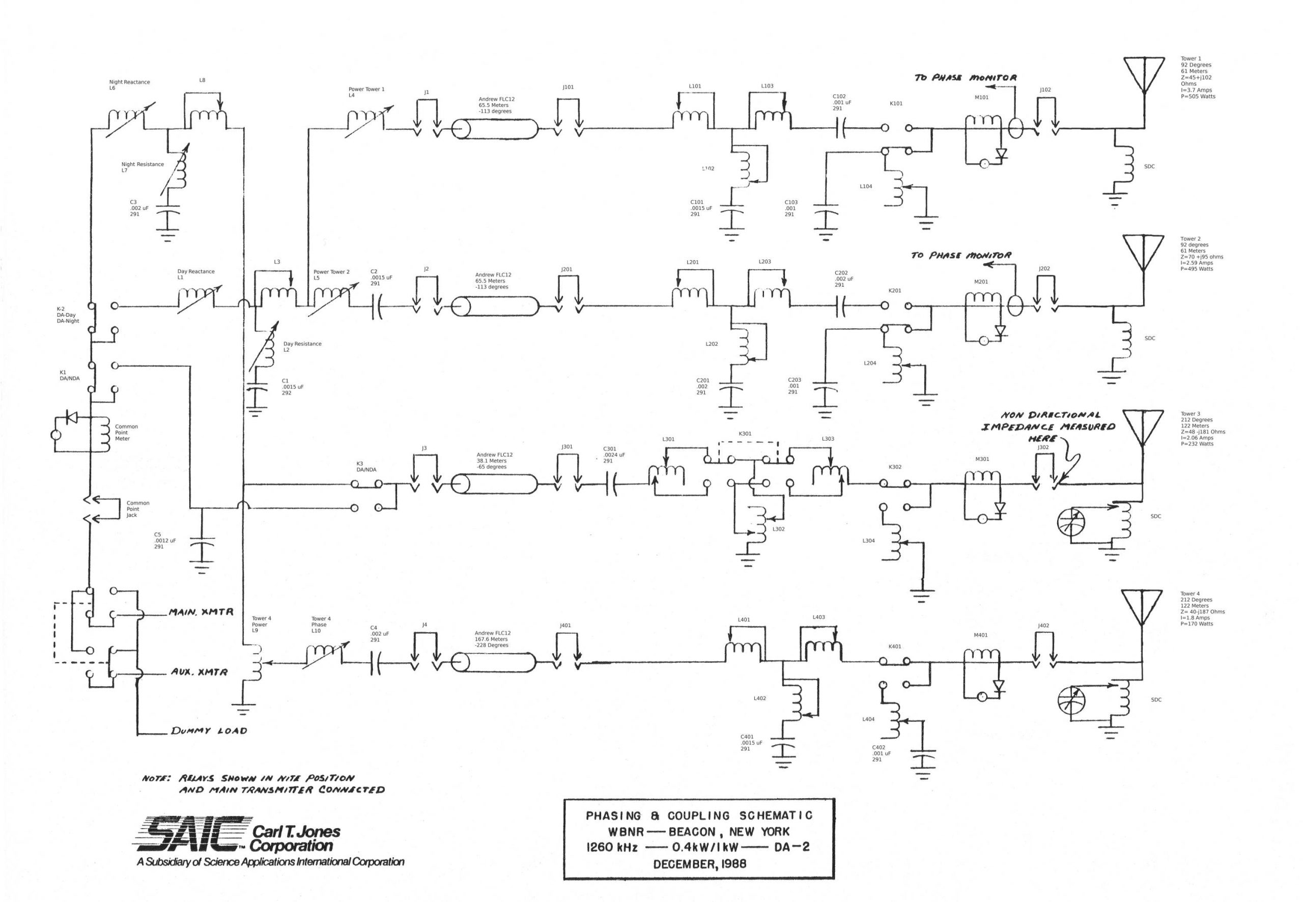 Schematic diagram WBNR day/night antenna systems