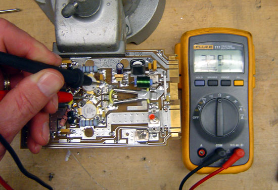 Harris Z series FM PA circuit board under test, resistance is 3.3 Mohm