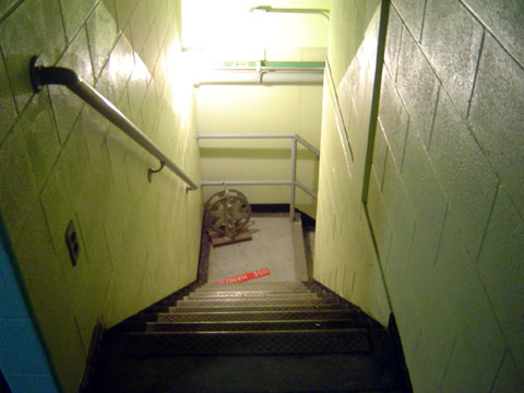 Stairs going down to the bomb shelter
