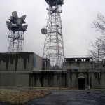 att microwave site towers with horn antennas