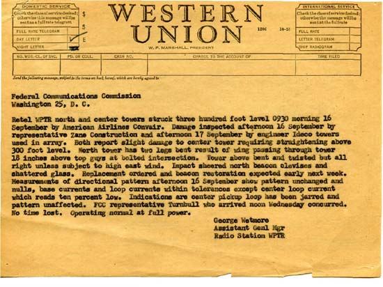 Original telegram to FCC in Washington DC regarding tower/aircraft colision