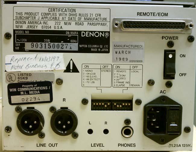 Denon DN-950FA back