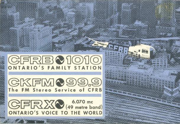 1964 CFRX/CFRB QSL card