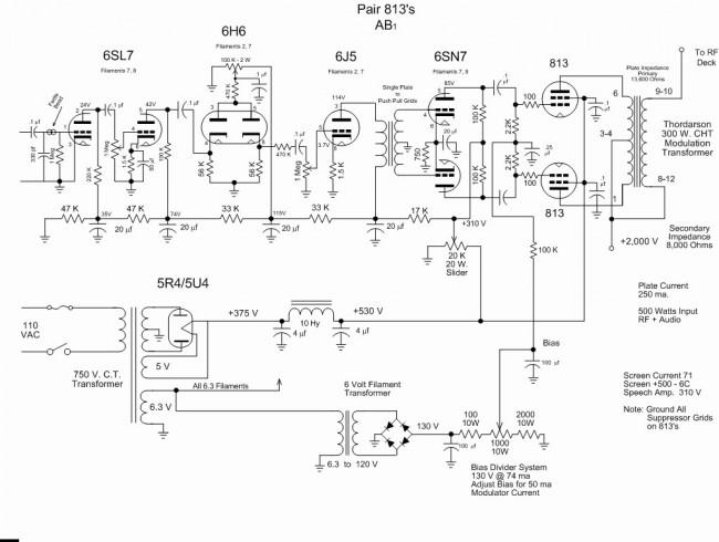 813 Tube type AM transmitter modulator section