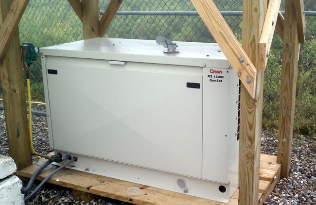 Onan RS-15000 at transmitter site with ice shield
