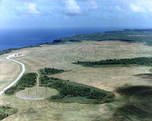 Aerial view of building 150 and antenna fields