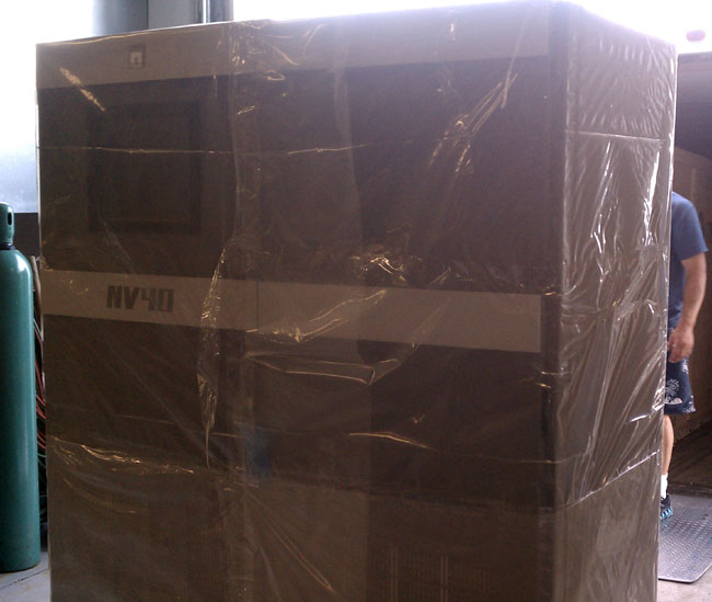 Nautel NV-40 uncrated and read to move down the hallway