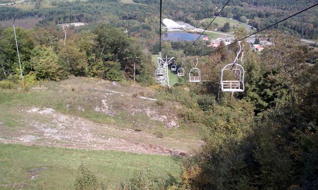 Bousquet Ski Area chair lift going down hill