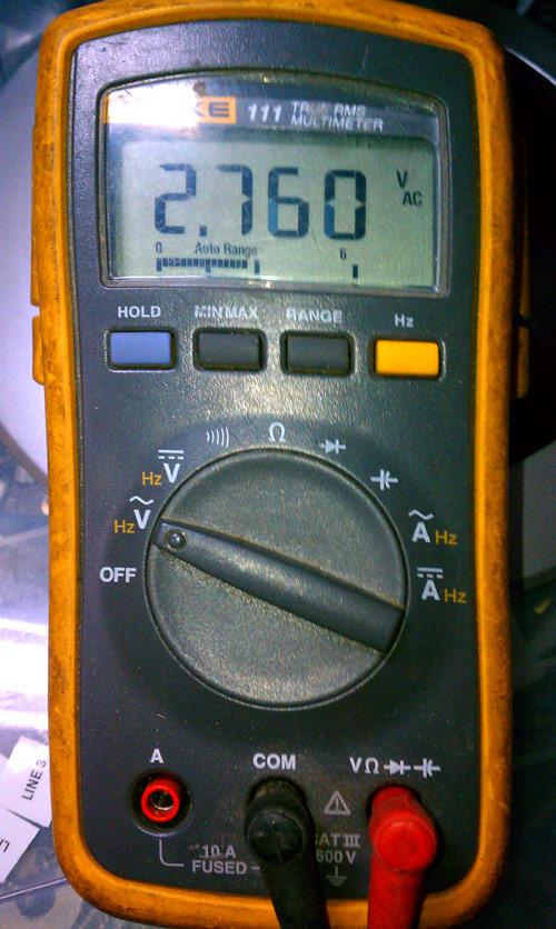 12 volts DC, 2.7 volts AC