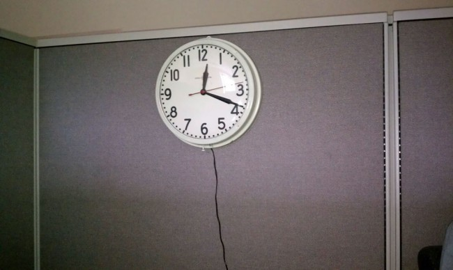 WDCD conference room clock, time of power outage noted