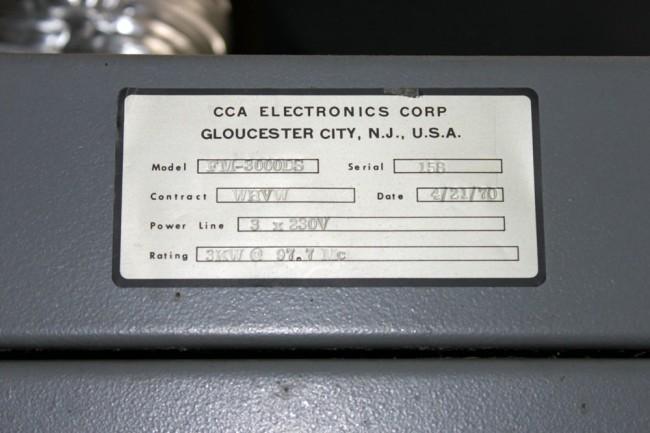 WKZE CCA transmitter name plate