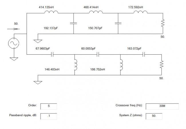 HF VHF diplexor schematic diagram