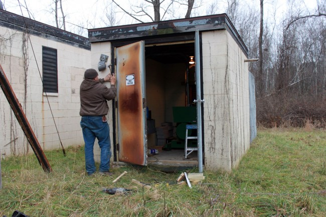 Generator shed door repaired