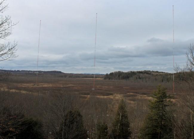 WVMT three tower directional antenna array, Burlington, VT