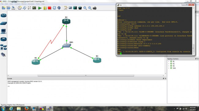 GNS3 screen shot, topology and router console
