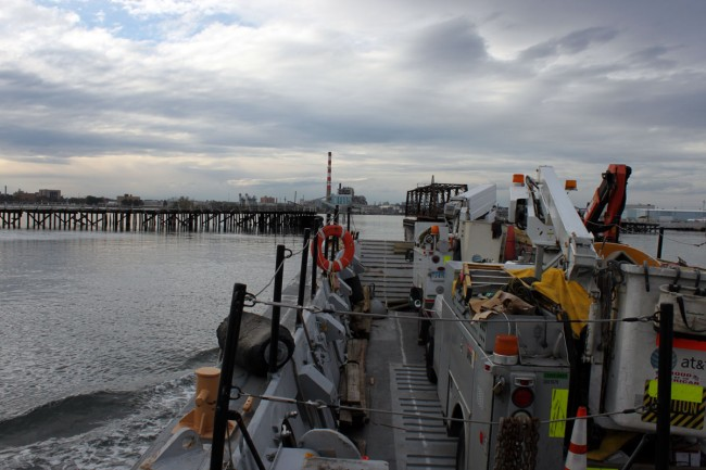 ATT bucket trucks, , mobilized via landing craft to Pleasure Beach