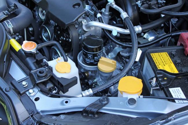 Oil filter location on a Subaru FB20 engine