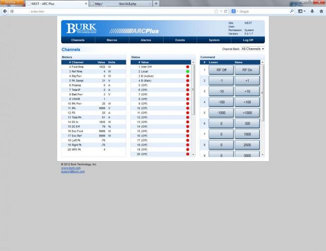 Burk ARC Plus web interface