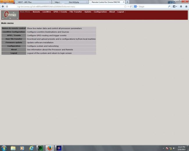 Telos Omnia One web interface