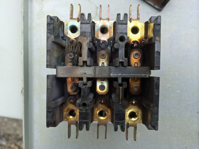 Burned 30 amp three phase contactor