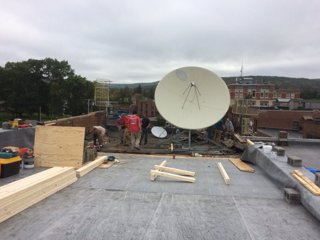 3.2 meter satellite dish ready to move
