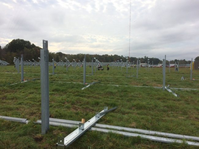 WROW-AM Steel mounting poles on antenna array field