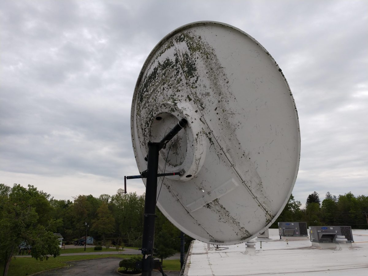 Comtech 3.8 meter dish with broken mount